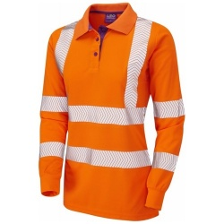 Leo Workwear PL08-O POLLYFIELD ISO 20471 Class 2 Coolviz Plus Ladies Sleeved Polo Shirt Orange